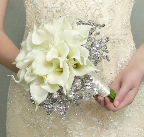"""White Calla Lilies Shimmer Bouquet"""