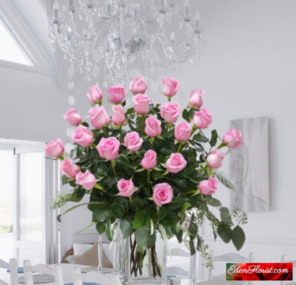 """24 gorgeous long stem pink roses"""