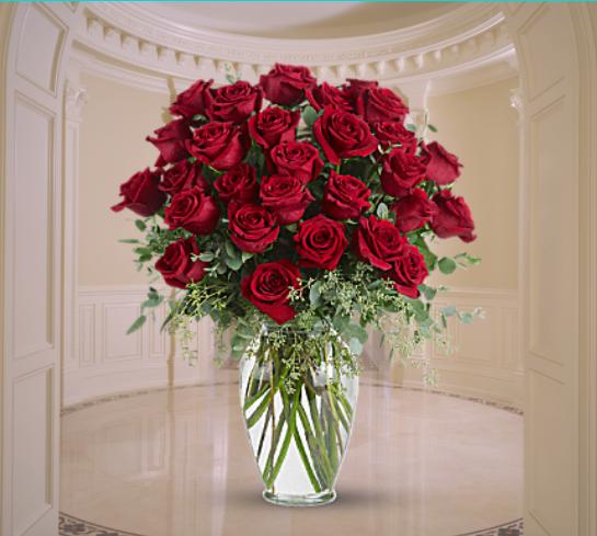 """""""2 dozen red roses in glass vase"""""""
