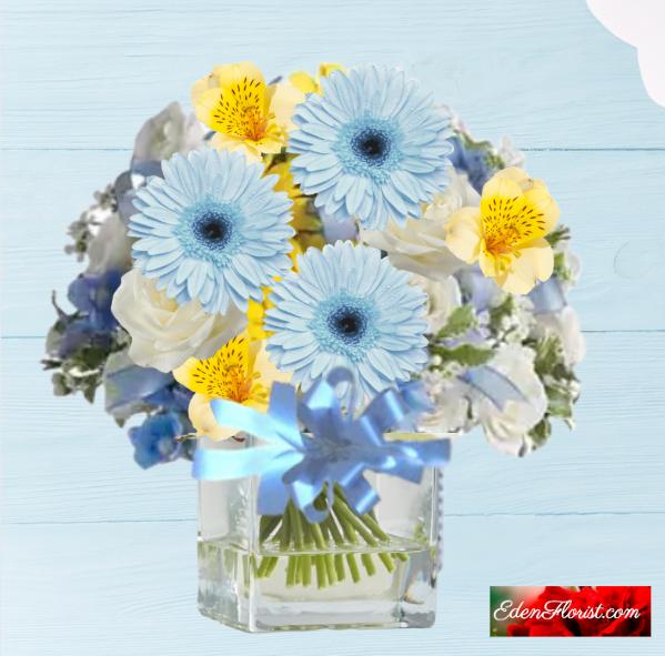 """A New Life Blue Baby Boy Bouquet"""