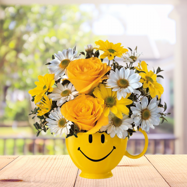 """""""Be Happy - Happy Face Mug with Yellow and white flowers"""""""