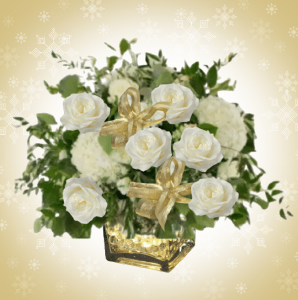 """""""Christmas Green and White Centerpiece"""""""
