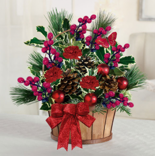 """Evergreen Holly Basket"""