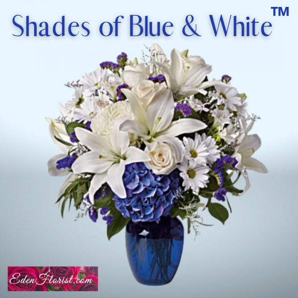 """""""Shades of Blue and White Vase of Flowers"""""""
