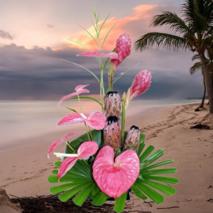 """""""Tropical Bliss Pink Hearts and Flowers"""""""