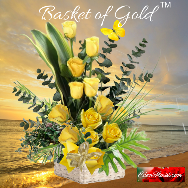 """""""basket of gold bouquet of yellow roses"""""""