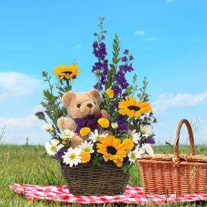 """bear and basket picnic bouquet"""