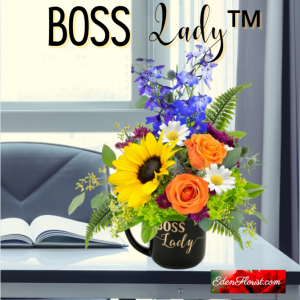Lady boss bouquet with sunflowers roses and delphinium