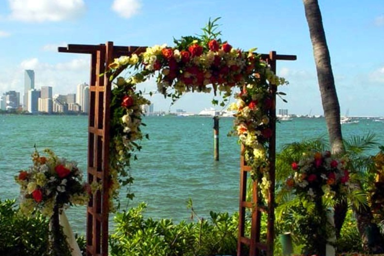 """trellis arch of flowers"""