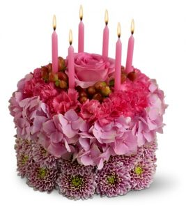 """""""Wishes Come True birthday cake of flowers"""""""