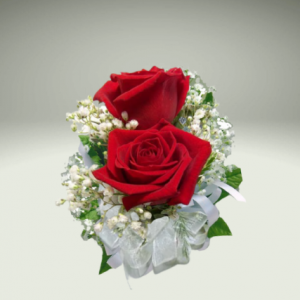 """""""double red rose corsage"""""""