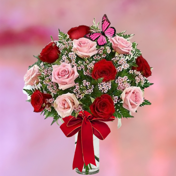 """""""dozen fancy pink and red roses"""""""
