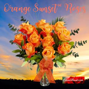 """dozen orange sunset roses"