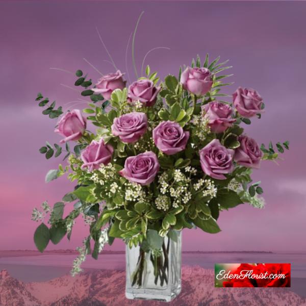"""dozen purple roses"""