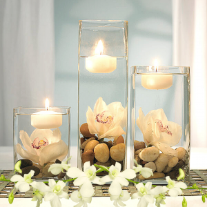 """""""orchids and candles in cylindar vase grouping"""""""