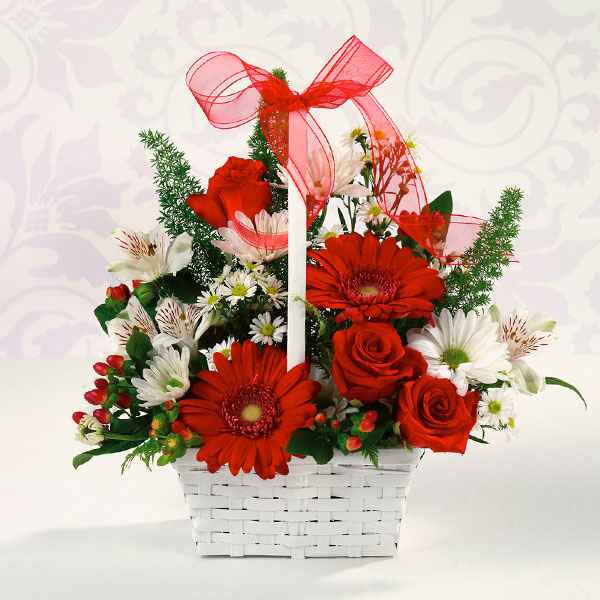 """""""red and white delight basket of flowers"""""""