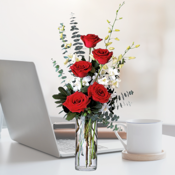 """""""red roses and white orchids"""""""