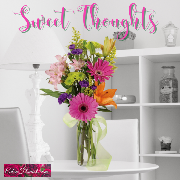 """""""sweet thoughts simple vase of flowers"""""""