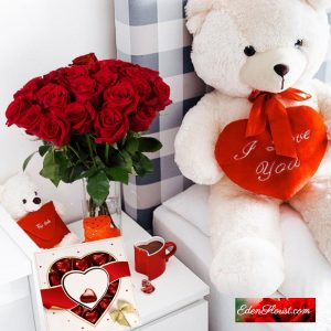 """valentine roses chocolates and teddy bear"""