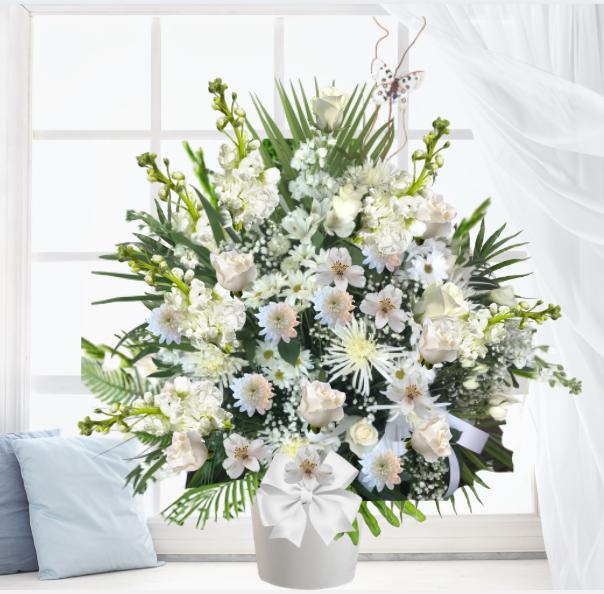 """""""White Sympathy Funeral Basket"""""""